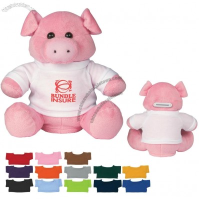 Plush Promotional Piggy Bank with Logo Shirt - 8
