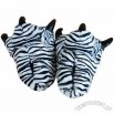 Plush Zebra-Stripe Slippers With PU Horn