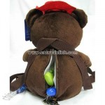 Plush backpack coffee bear