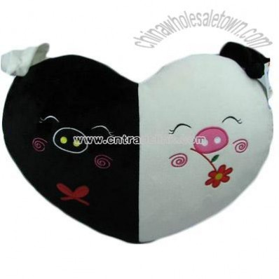 Plush black and white pig shaped pillow