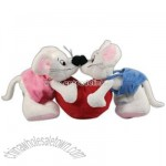 Plush kissing valentine mice
