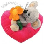 Plush valentine mouse in a heart shape pillow