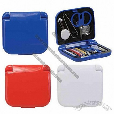 Pocket Mini Sewing Kit. Compact Plastic Case. 21-Piece Set