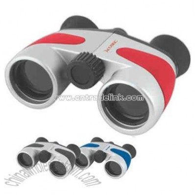 Pocket Size Metallic Silver Sport Binoculars With Rubberized Finish Color Panels