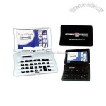 Pocket size battery powdered calculator with business card holder
