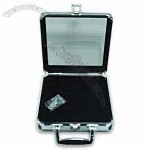 Poker Chip Case/Casino Accessory with Silver Diamond Line Aluminum Slice Exterior