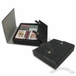Poker Chip Set with Stitching Bounded Leather Case, Includes 100pcs 11.5g 2-tone Poker Chips
