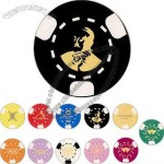 Poker Chips With 3 Spot Design On Outer Side Of Chip