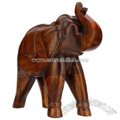 Polished Wooden Elephant Figurine