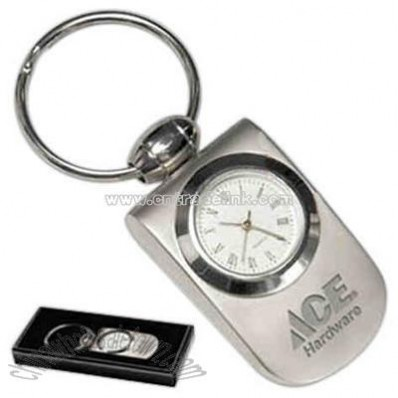 Polished bezel analog clock keychain in matte silver finish