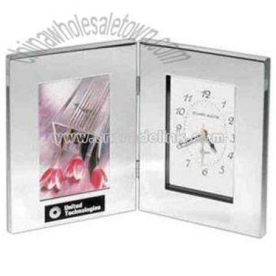 Polished silver aluminum Combination clock and photo frame