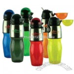 Polycarbonate sport and water bottle with flip top lid and built in straw