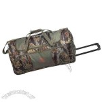 Polyester camo rolling duffel with built-in pull-up handle.