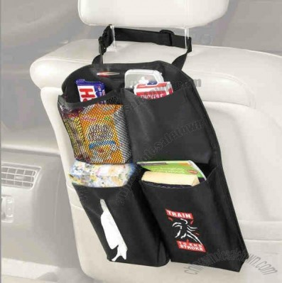Polyester car organizer designed to hang from headrest with four open pockets