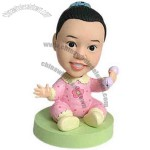 Polyresin Baby Girl With Rattle Bobblehead