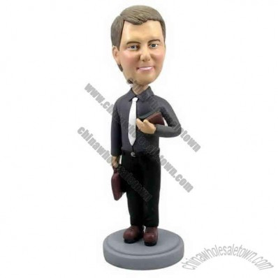 Polyresin Businessman/Teacher With Briefcase Bobblehead