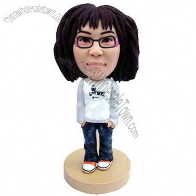 Polyresin Casual Teenager In Jeans Bobblehead