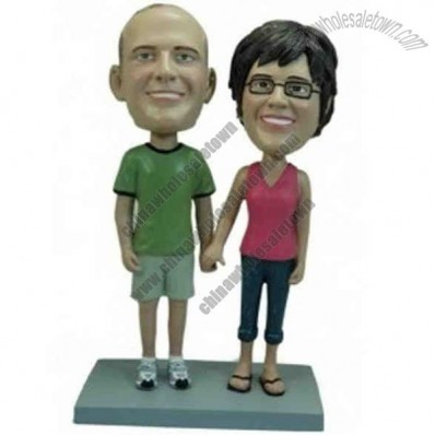Polyresin Couple Holding Hands Bobblehead