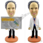 Polyresin Doctor Business Card Holder Bobblehead