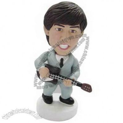Polyresin Guitar Player In Suit Bobblehead