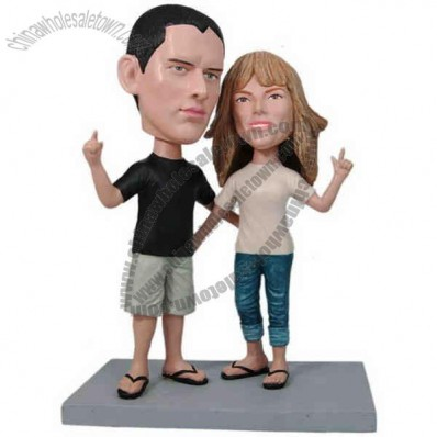 Polyresin Laid Back Couple Bobblehead