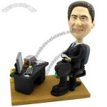Polyresin Male Executive At Office Desk Bobblehead