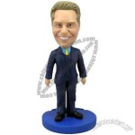 Polyresin Male Executive in Blue Suit Bobblehead