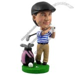 Polyresin Male Golfer with Bag and Clubs Bobblehead