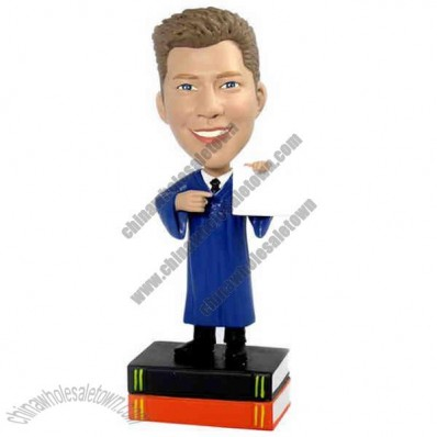 Polyresin Male Graduate Displaying Diploma Bobblehead