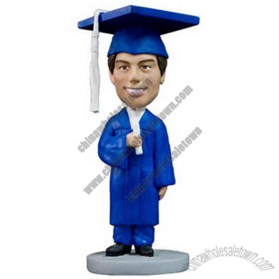 Polyresin Male Graduate In Blue Gown Bobblehead