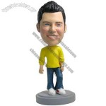 Polyresin Male In Sweater And Jeans Bobblehead