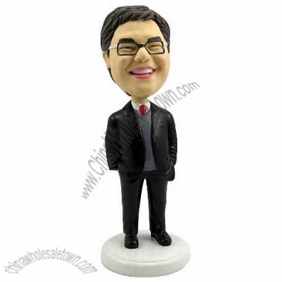 Polyresin Male Occupation In Business Suit Bobblehead
