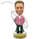 Polyresin Man In Casual Pink Shirt And Jeans Bobblehead