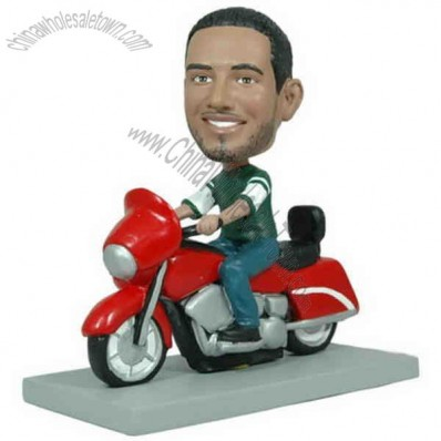 Polyresin Man On Motorcycle Bobblehead