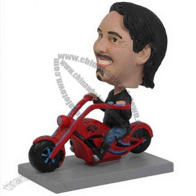Polyresin Man Riding Chopper Motorcycle Bobblehead