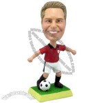 Polyresin Soccer Player Dribbling Bobblehead with Ball