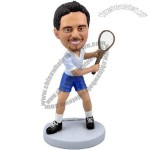 Polyresin Tennis Player In Backswing Bobblehead