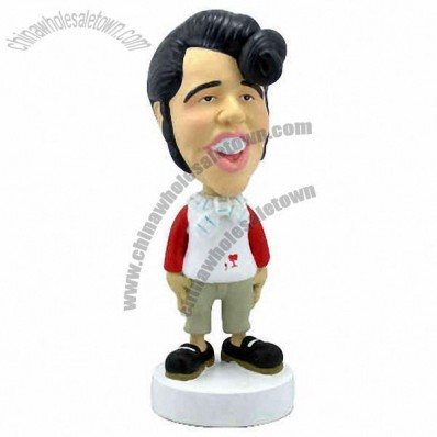 Polyresin Trendy Male In White And Red Shirt Bobblehead