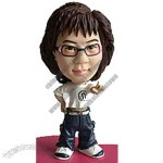 Polyresin Woman In Baggy Jeans And T-Shirt Bobblehead