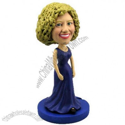 Polyresin Woman In Elegant Blue Gown Bobblehead