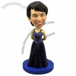 Polyresin Woman In Evening Dress Bobblehead