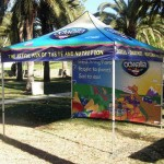 Pop tent features 8' x 8' instant canopy, water repellent, UV coated