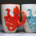 Porcelain Coffee Mug with Octopus Handle