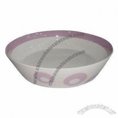 Porcelain Soup Bowl With Decal In White