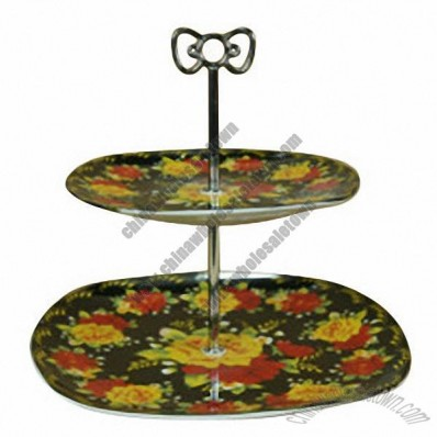 Porcelain Square-Shaped Cake Stand, High Porcelain