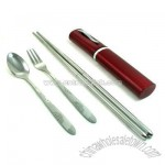 Portable Cutlery Set(Folding Chopsticks + spoon + fork)