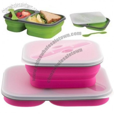 Portable Double-in Collapsible Silicone Lunch Box