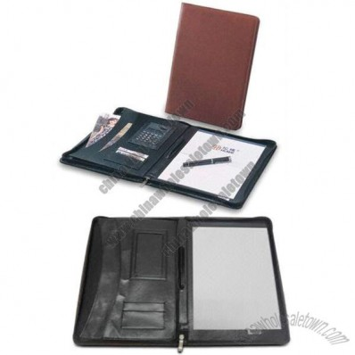 Portfolio, Made of PU/PVC, Zipper, Pen Loop, Pockets for Electronic, Card, Document