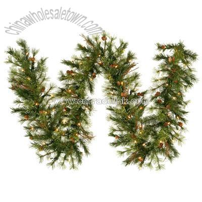 Pre Lit 9 Foot Artificial Mixed Country Pine Garland Christmas