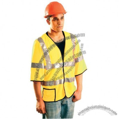 Premium Mesh Dual Stripe Safety Vest - Yellow